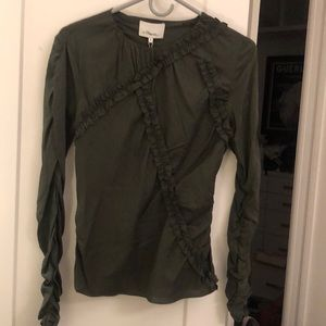 Phillip Lim Ruffle Blouse Army Green size 8 NWT!